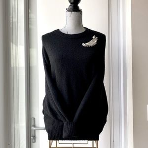 H&M Soft Black Sweater with Jewelled Embellishment
